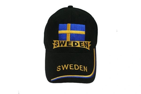 SWEDEN BLACK COUNTRY FLAG EMBOSSED HAT CAP .. NEW