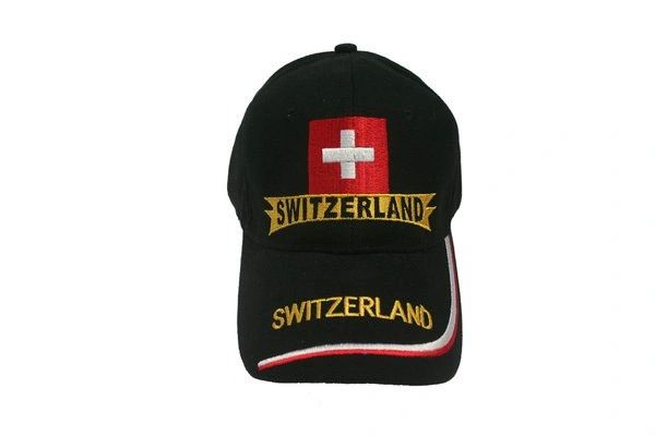 SWITZERLAND BLACK COUNTRY FLAG EMBOSSED HAT CAP .. NEW