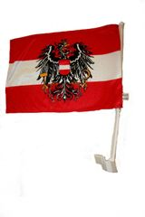 "AUSTRIA WITH EAGLE COUNTRY HEAVY DUTY CAR FLAG.. SIZE : 12"" X 18"" INCHES.. NEW"