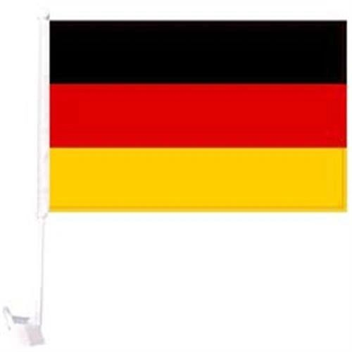 "GERMANY PLAIN COUNTRY HEAVY DUTY CAR FLAG WITH STICK.. SIZE : 12"" X 18"" INCHES.. NEW"