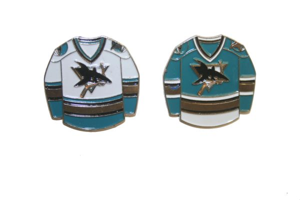 2 SAN JOSE SHARKS BLUE & WHITE JERSEYS NHL LOGO METAL LAPEL PIN BADGES .. NEW AND IN A PACKAGE