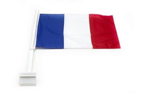 "FRANCE COUNTRY HEAVY DUTY CAR FLAG WITH STICK.. SIZE : 12"" X 18"" INCHES.. NEW"