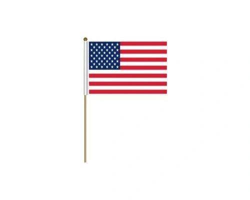 "USA COUNTRY STICK FLAG BANNER ON A 2 FOOT WOODEN STICK.. SIZE : 12"" X 18"" INCHES.. NEW"