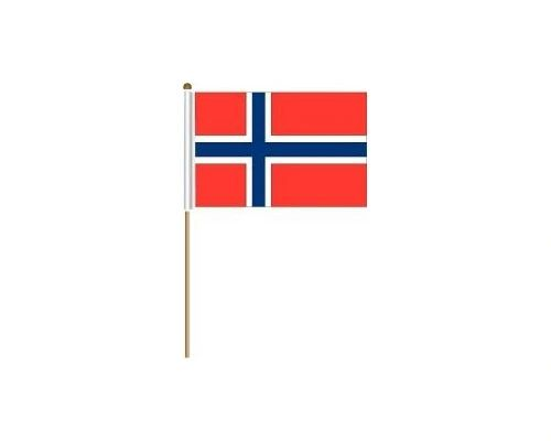 "NORWAY COUNTRY STICK FLAG BANNER ON A 2 FOOT WOODEN STICK.. SIZE : 12"" X 18"" INCHES.. NEW"