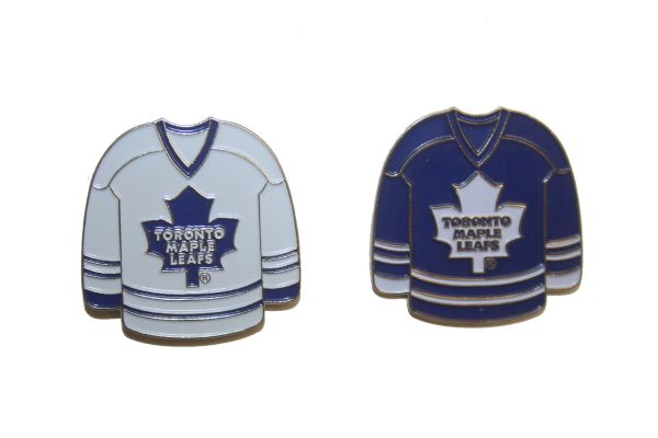 2 TORONTO MAPLE LEAFS BLUE & WHITE JERSEYS NHL LOGO METAL LAPEL PIN BADGES .. NEW AND IN A PACKAGE