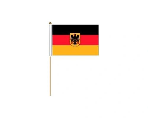 "GERMANY WITH EAGLE COUNTRY STICK FLAG BANNER ON A 2 FOOT WOODEN STICK.. SIZE : 12"" X 18"" INCHES.. NEW"