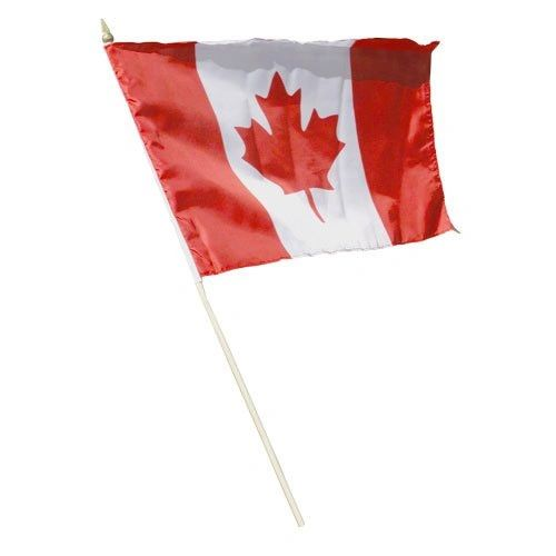 "CANADA COUNTRY STICK FLAG BANNER ON A 2 FOOT WOODEN STICK.. SIZE : 12"" X 18"" INCHES.. NEW"
