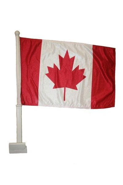 "CANADA COUNTRY HEAVY DUTY CAR FLAG WITH STICK.. SIZE : 12"" X 18"" INCHES.. NEW"