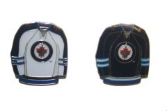 2 WINNIPEG JETS BLUE & WHITE JERSEYS NHL LOGO METAL LAPEL PIN BADGES .. NEW AND IN A PACKAGE