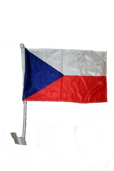 "CZECH REPUBLIC COUNTRY HEAVY DUTY CAR FLAG WITH STICK.. SIZE : 12"" X 18"" INCHES.. NEW"