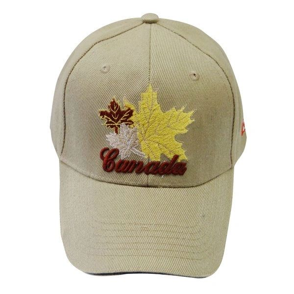 "CANADA BEIGE WITH WORD ""CANADA"" & 3 MAPLE LEAF EMBOSSED HAT CAP.. NEW"