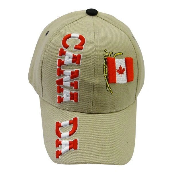 """CANADA BEIGE COUNTRY FLAG WITH WORD """"CANADA"""" EMBOSSED HAT CAP.. NEW"""