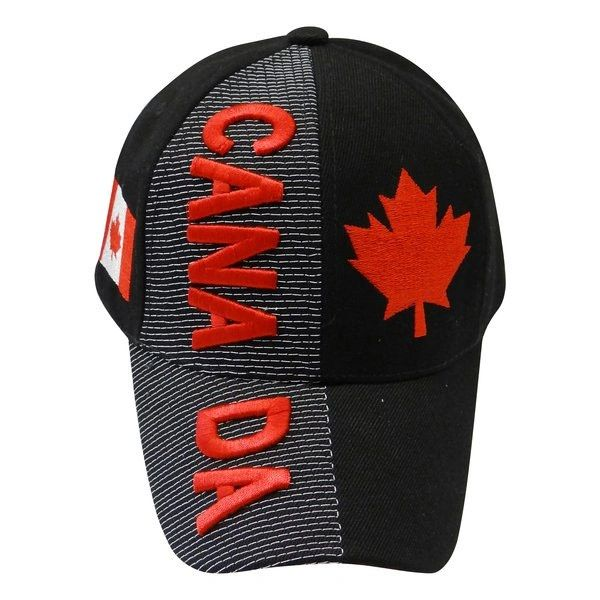 CANADA BLACK COUNTRY FLAG WITH MAPLE LEAF EMBOSSED HAT CAP .. NEW