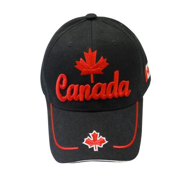 "CANADA BLACK COUNTRY FLAG WITH RED WORD ""CANADA"" & MAPLE LEAF EMBOSSED HAT CAP .. NEW"