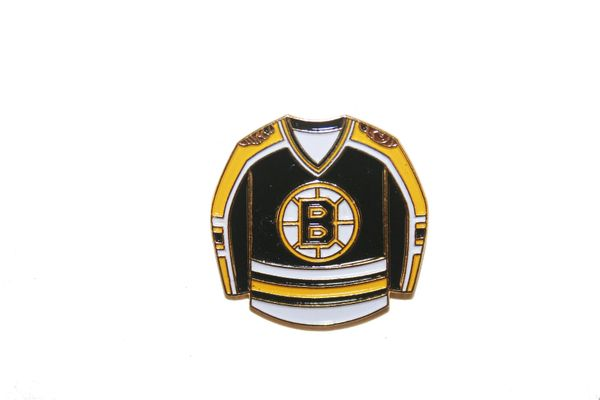 BOSTON BRUINS BLACK JERSEY NHL LOGO METAL LAPEL PIN BADGE .. NEW AND IN A PACKAGE