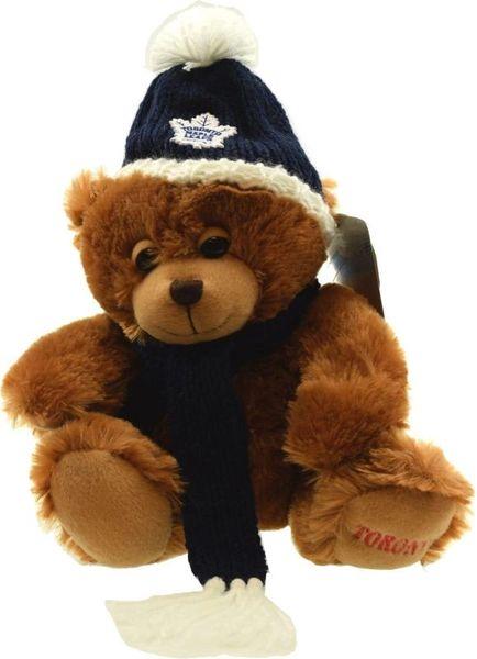 """TORONTO MAPLE LEAFS NHL HOCKEY ( NEW ) LOGO 11"""" INCH PLUSH BEAR WITH SCARF & HAT TOY"""