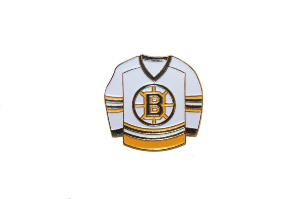 BOSTON BRUINS WHITE JERSEY NHL LOGO METAL LAPEL PIN BADGE .. NEW AND IN A PACKAGE