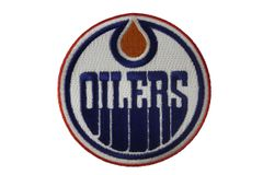 """EDMONTON OILERS NHL HOCKEY LOGO CIRCLE SHAPE EMBROIDERED IRON ON PATCH CREST BADGE .. SIZE : 3"""" INCHES IN DIAMETER"""