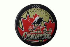 CANADA Double Gold CHAMPIONS 2002 PUCK