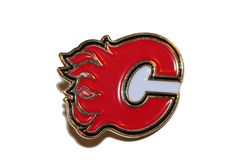 CALGARY FLAMES NHL LOGO METAL LAPEL PIN BADGE .. NEW AND IN A PACKAGE