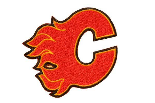 "CALGARY FLAMES EMBROIDERED Iron - On PATCH CREST BADGE .. SIZE : 3"" x 2.5"" Inch"