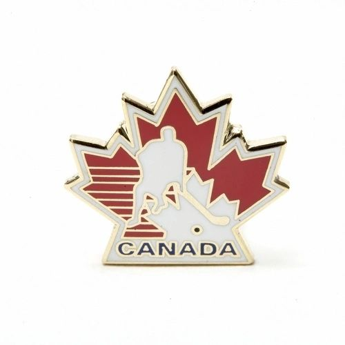 MAPLE LEAF CANADA HOCKEY METAL LAPEL PIN BADGES .. NEW AND IN A PACKAGE