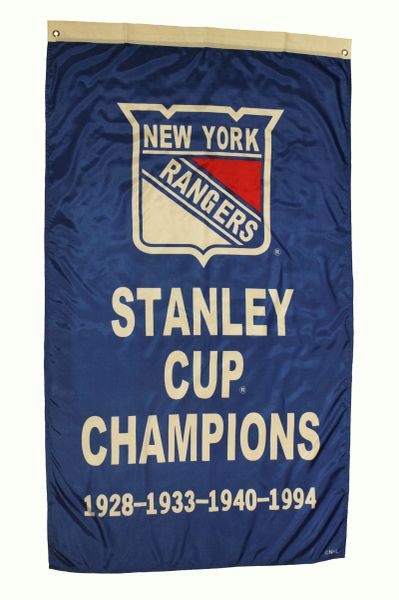 NEW YORK RANGERS STANLEY CUP CHAMPIONS 1928 - 1933 - 1940 - 1994 NHL Hockey Logo 5 x 3 Feet Banner Flag