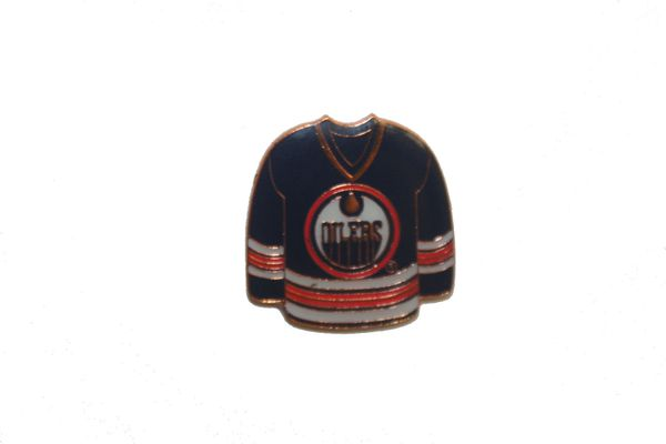 EDMONTON OILERS BLUE JERSEY NHL LOGO METAL LAPEL PIN BADGE .. NEW AND IN A PACKAGE