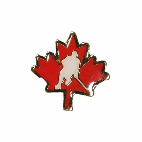 RED MAPLE LEAF WITH PLAYER NHL METAL LAPEL PIN BADGE .. NEW AND IN A PACKAGE