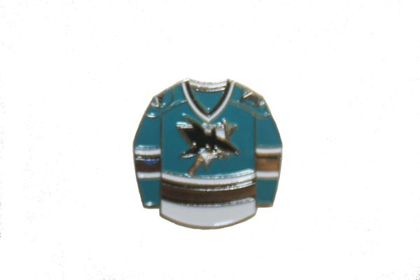 SAN JOSE SHARKS BLUE JERSEY NHL LOGO METAL LAPEL PIN BADGE .. NEW AND IN A PACKAGE