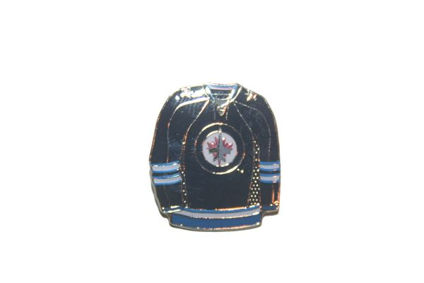 WINNIPEG JETS BLUE JERSEY NHL LOGO METAL LAPEL PIN BADGE .. NEW AND IN A PACKAGE