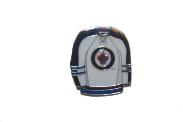 WINNIPEG JETS WHITE JERSEY NHL LOGO METAL LAPEL PIN BADGE .. NEW AND IN A PACKAGE