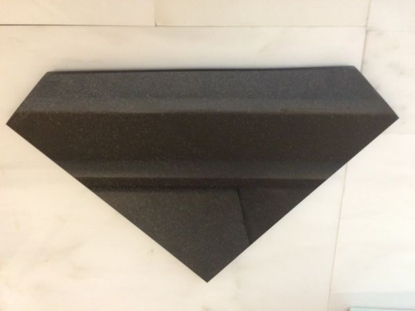 "Absolute Black Granite Shower Corner Shelf 3/8"" Diamond Shape"