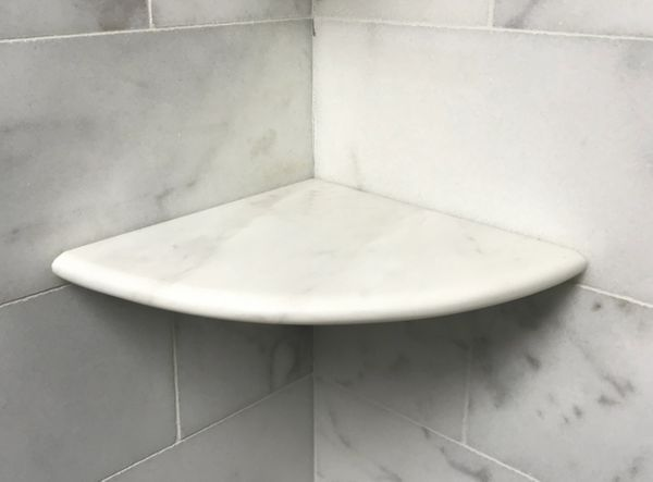 "Premium 2CM X 9"" White Marble Shower Corner Shelf"