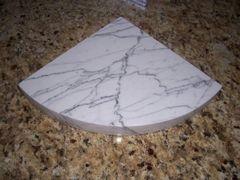 3cm White Carrara Marble Shower Corner Shelf