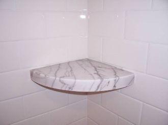 Marble Corner Shower Shelf.3cm White Carrara Marble Shower Corner Shelf