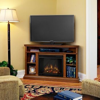 Real Flame Churchill Corner Entertainment Electric Fireplace