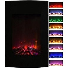 Oasis 23 Inch Ventless Heater Electric Wall Mounted Fireplace - Multi-Color