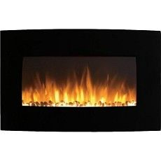 Broadway 35 Inch Electric Wall Mounted Fireplace - Log or Pebble