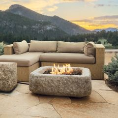 Real Flame Antique Stone Square Propane Fire Pit (closeout item, qty is limited) (Ships Truck Call for Rates)
