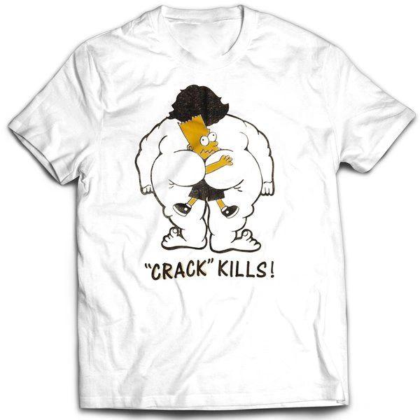 Vintage Style Bootleg Bart Crack Kills T-shirt