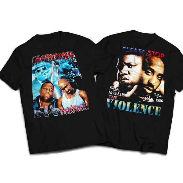 Vintage Style 2pac and Biggie Stop The Violence Rap T-shirt