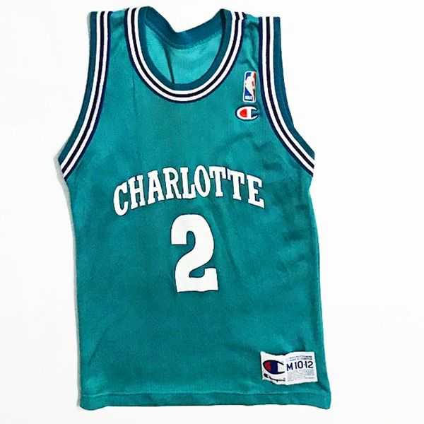 Vintage Charlotte Hornets Larry Johnson Basketball Champion Jersey