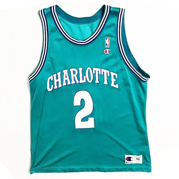 Vintage Charlotte Hornets Larry Johnson Basketball Champion Jersey Sz 48