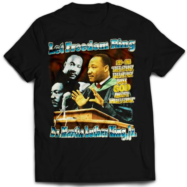 Vintage Style Martin Luther King Jr. Let Freedom Ring Rap T-shirt