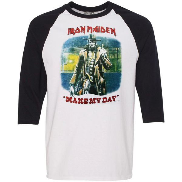 Vintage Style Iron Maiden Somewhere In Time Make My Day Raglan T-shirt