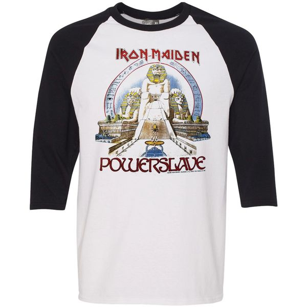 Vintage Style Iron Maiden Powerslave World Slavery Tour Raglan T-shirt