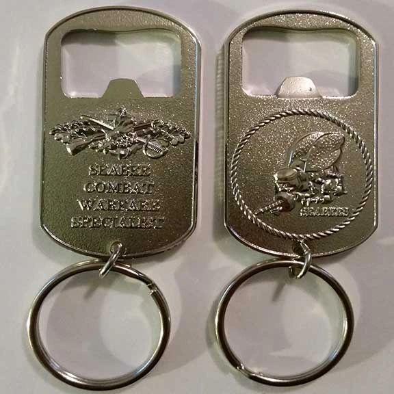 Seabee Combat Warfare Specialist Key Chain / Bottle Opener (Silver)