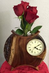 Hawaiian Koa Asian Inspired Clock/Bud Vase