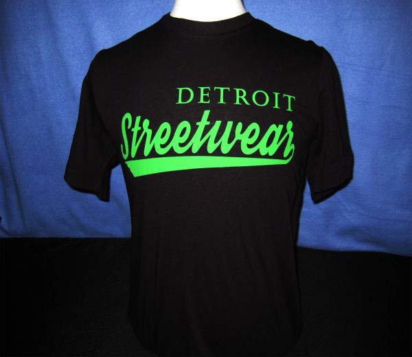 Detroit Streetwear T-shirt Black (green print)
